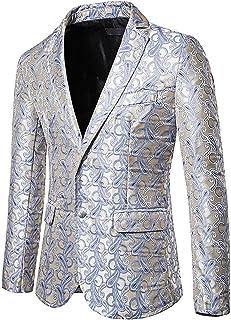 qishi Men's Suit Jacket Color Printing Two Button Blazer