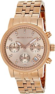 Michael Kors Ritz Women's Rose Gold Dial Stainless Steel Band Chronograph Watch - MK6077