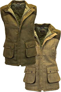 Walker and Hawkes Men's Tweed Shooting Waistcoat Gilet with Shoulder Patch