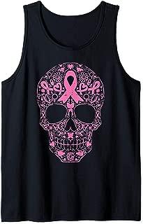 Sugar Skull Pink Ribbon Calavera Breast Cancer Awareness Tank Top