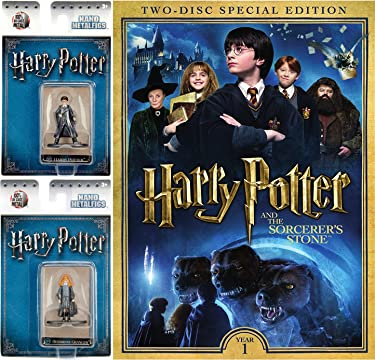 Harry Potter and the Sorcere's Stone Two-Disc Special Edition DVD with Harry Potter and Hermione Granger Nano Metalfigs Bundle