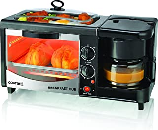 Courant 3-in-1 Multifunction Breakfast Hub (4 Slice Toaster Oven, Large 10'' Diameter Griddle Pan, Multi Cup Coffee Maker), Black