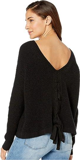 5b399be87ca8f Waffle Stitch V-Back Lace-Up Sweater