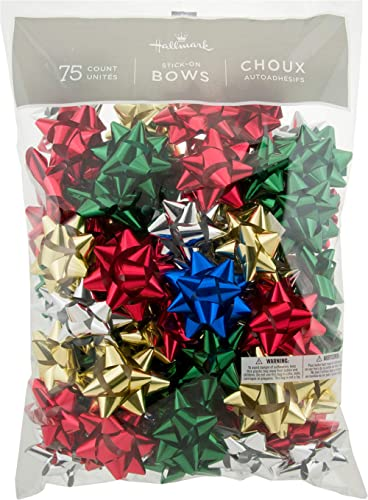 """Hallmark Holiday 3"""" Bow Assortment (75 Bows; Traditional Holiday Colors) for Christmas Gifts"""