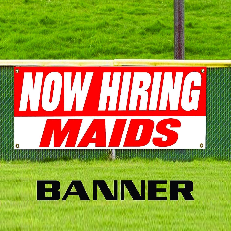 Now Hiring Maids Job Advertising Working Opportunity Sales Team Novelty Indoor Outdoor Vinyl Banner Sign 48 x 120