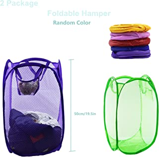Alovexiong 2Pack Mesh Popup Laundry Hamper Foldable Laundry Basket Portable Dirty Clothes Basket Collapsible Dirty Clothes Hamper for Bedroom,Kids Room,College Dormitory and Travel(Random Color)