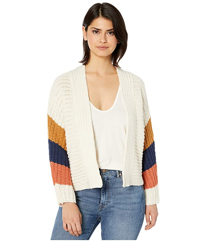 BB Dakota  Block Roll Soft Acrylic Color-Block Cardigan (Ivory) Womens Clothing