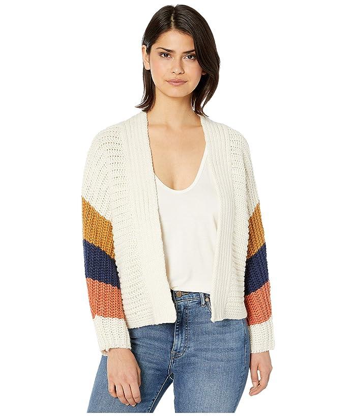 BB Dakota  Block Roll Soft Acrylic Color-Block Cardigan (Ivory) Womens Clothing