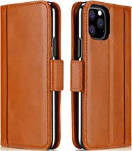 ProCase iPhone 11 Pro Max Genuine Leather Case, Vintage Folio Flip Case with Kickstand Card Holders Leather Wallet Case for iPhone 11 Pro Max 2019 -Brown