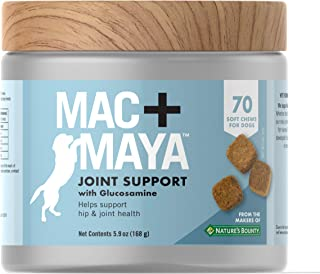 Mac + Maya™ Dog Supplement, Joint Support with Glucosamine for Dogs, Supports Connective Tissue, Cartilage Health, Joint Movement, & Synovial Fluid, 70 Soft Chews