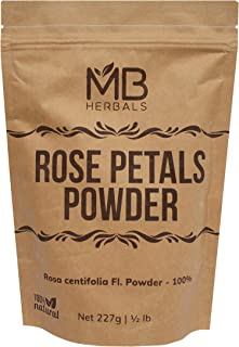 MB Herbals Rose Petals Powder 100g (3.5oz)   Rosa centifolia Natural Face Packs & Facial Mask Formulations   100% Pure   Chemical-Free   Preservative-Free   No Artificial Color