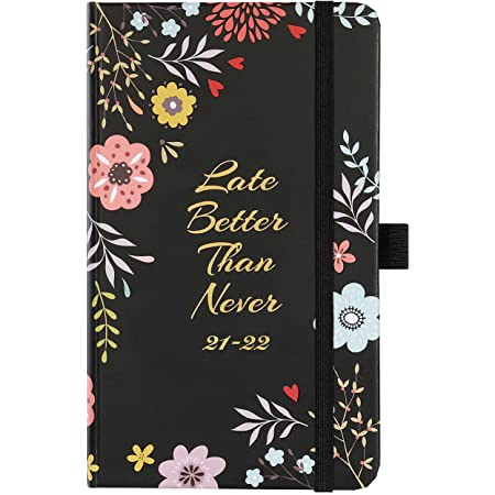 Academic Diary 2021-2022, A6 Weekly Planner Runs from July 2021 to June 2022, Pocket Diary, Hardcover, Elastic Bound, 2 Book Marks, Pen Loop, 16 x 10 x 1.5 cm