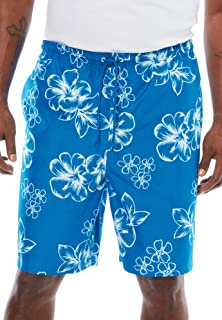 KingSize Men's Big & Tall Hibiscus Print Swim Trunks