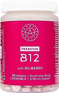 100% Vitamina B12 Vegana & Masticable - Sabor Natural a Arándanos Nórdicos - 90 Pastillas 1000mcg - Formula Avanzada y Maxima Pureza de Aarja Health - Sin Estearato