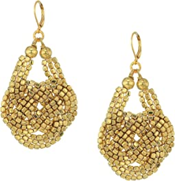 Kenneth Jay Lane Gold Seedbead Knotted Fishhook Earrings