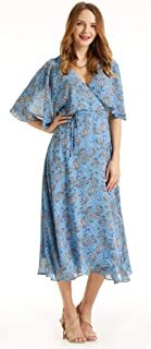 SONJA BETRO Women's Printed Chiffon Cape Sleeve Wrap Dress Plus Size