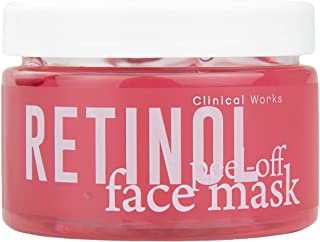 Clinical Works Retinol Peel Off Face Mask, Removes Dirt, Oils and Impurities, Combats Acne, Wrinkles and Dryness, Hydrates, Unclogs and Purifies Skin, 5.2 Oz