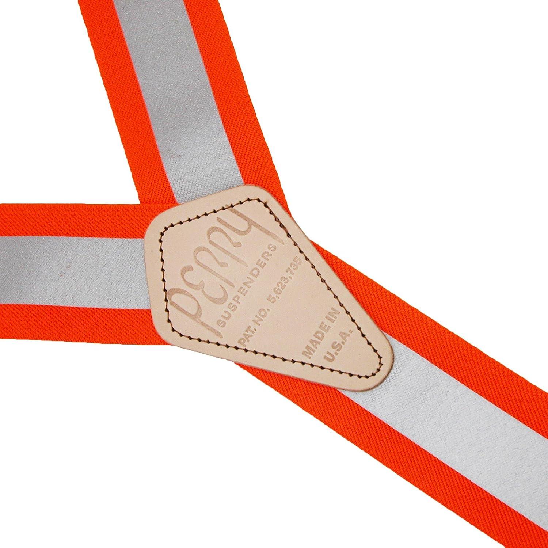 Perry Suspenders Elastic Hook End Reflective Suspenders, Neon Orange
