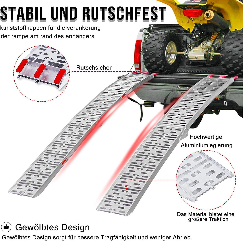 motocicletas 1 rampa plegable - B de aluminio UISEBRT caravanas y coches para remolques Rampa de carga plegable 340 kg