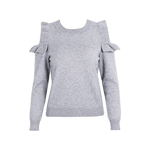 14abb62e172afa Simplee Women s Cold Shoulder Ruffle Knitted Tops Long Sleeve Pullover  Sweater