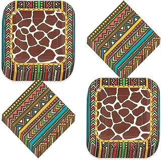 Safari Animal Print Party Supplies - Giraffe Paper Dessert Plates and Beverage Napkins (Serves 16)