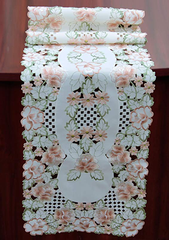 Creative Linens Embroidered Rose Daisy Floral Cutwork Table Runner 15x53 Ivory Spring Dresser Scarf