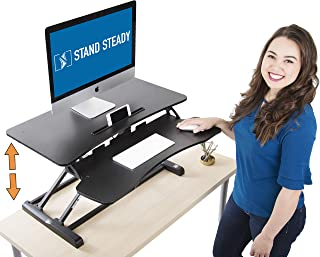 Stand Steady Flexpro Hero Two Level Standing Desk - Easily Sit or Stand in Seconds! Large Work Space w/Removable Extra Level for Keyboard & Mouse! (Regular (32