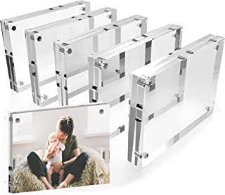 Mammoth 5x7 Inches AAA Grade Acrylic Picture Frame, Thick and Heavy Frameless Block Display (5 Pack)