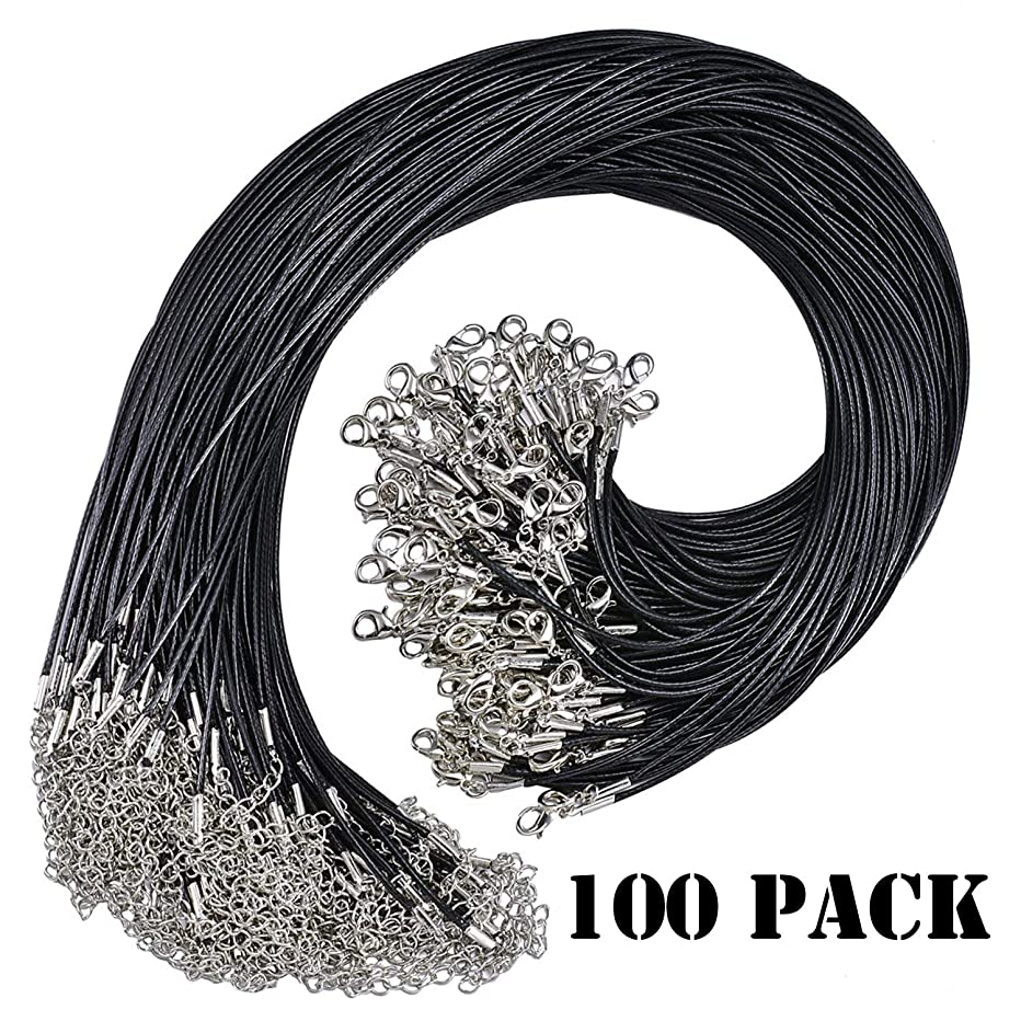 100 Pcs Black Waxed Necklace Cord with Lobster Clasp Bulk for Bracelet Necklace and Jewelry Making (18 Inches 1.5mm) (100PCS-1)