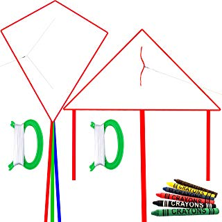 HENGDA KITE DIY Blank Painting Kite for Kids-Single Line-Includes 6 Colors Crayons,2 Handles with Flying Lines-1 Diamond Kite and 1 Triangel Kite,2 Pcs