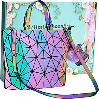 Holographic Geometric Tote Handbag Purse for Women girl Luminous Backpack Purse and tote bag set Crossybody Lady Purse