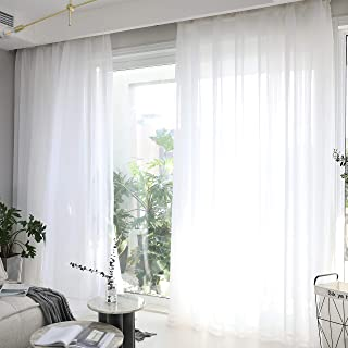 Home Brilliant Sheer Window Curtains for Bedroom White Window Treatment Panels for Living Room, Set of 2, 54