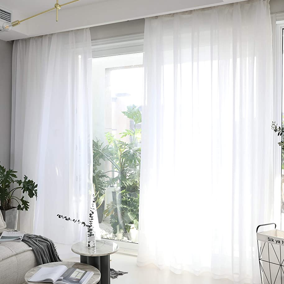 HOME BRILLIANT Window Treatment Set of 2 White Sheer Curtains Drapes for Privacy, 54 x 84 inch Length