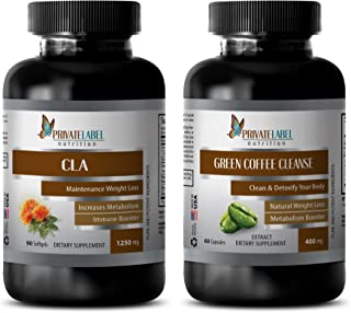 antioxidant Powerful - CLA (Conjugated Linoleic Acid) - Green Coffee Cleanse - cla Powder Supplement - 2 Bottles Combo (90...