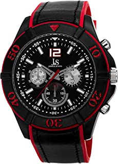 Joshua & Sons Casual Watch Analog Display Japanese Quartz For Men Js51Rd, Red Band