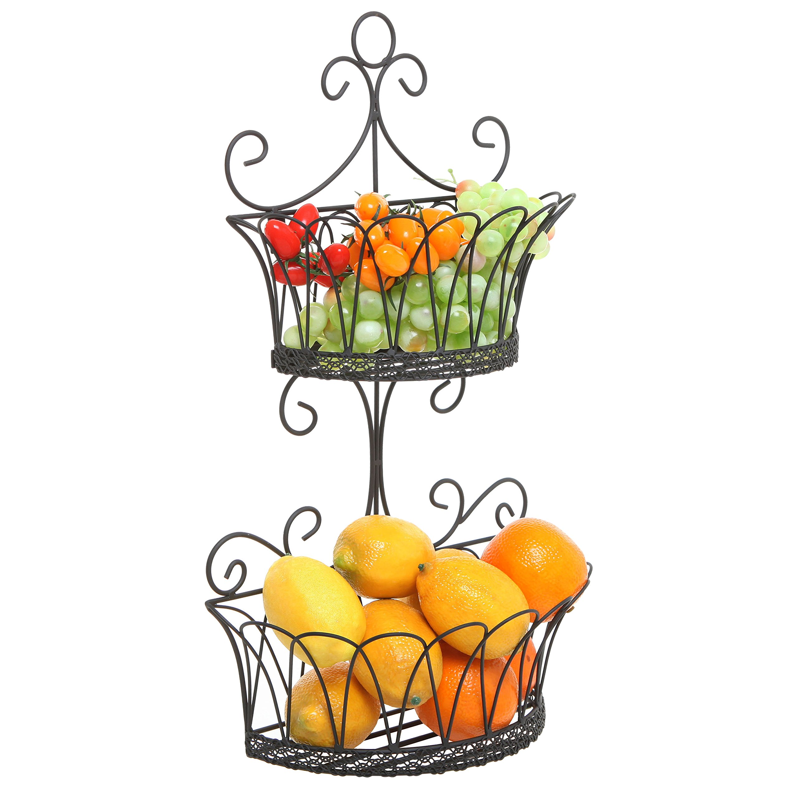 Wall Mounted Scrollwork 3 Tier Black Iron Fruit Basket//Kitchen Storage Rack
