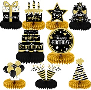 9 Pieces Black Gold Birthday Decorations Birthday Centerpieces for Tables Decorations Happy Birthday Honeycomb Table Topper Happy Birthday Decorations for Men and Woman Birthday Party Supplies