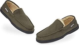 Dunlop Moccasins Slippers Men | Moccasin Loafers Faux Sheepskin Slippers with Rubber Sole - Memory Foam Plush House Slippe...