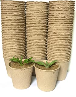 3 Inch Peat Pots Seeding Starters for Plant 100 Pack, Germination Seedling Round Paper Nurcery Pots, Saplings, Vegetable & Herbs Start Kit Eco Friendly & Organic Biodegradable