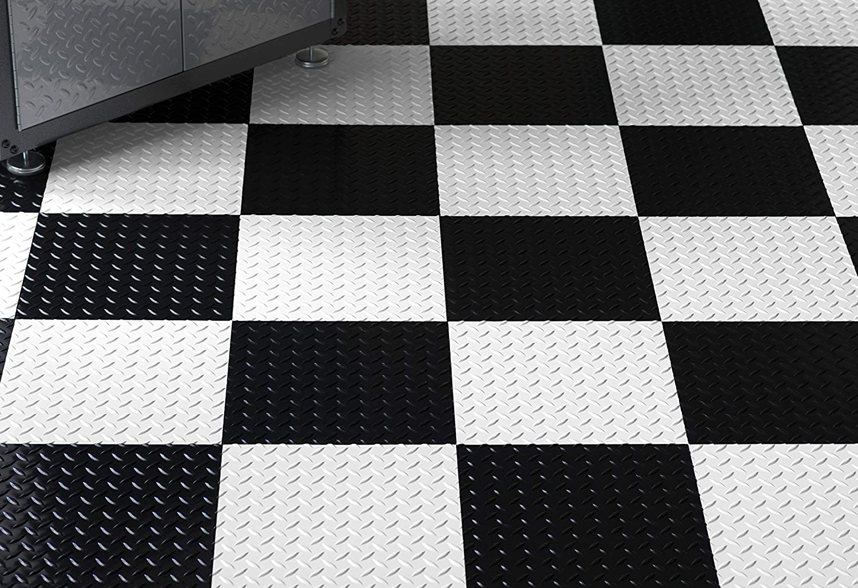 G Floor Raceday Diamond Tread 12 X 12 Peel And Stick Tile In Absolute White Set Of 20
