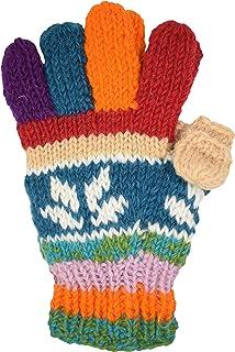 Woolen Warm Fleecelined Multicolored Five Finger Gloves Thumb Cap