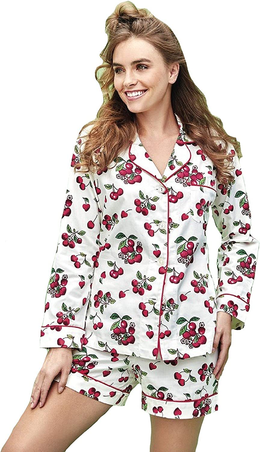 BedHead Pajamas Ivory Cherries in Bloom Sateen L S Classic Shorty Set  BH21212036183