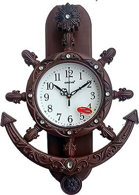 Oreva Plastic Pendulum Wall Clock (42.5 cm x 30.5 cm x 7.0 cm, Black Wood, AQ-2327)