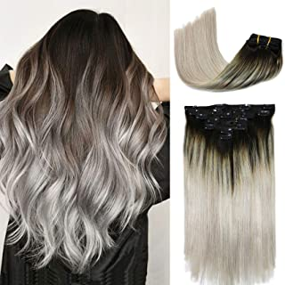 Clip In Hair Extensions Human Hair Ombre Hair Natural Black Fading to Silver Gray Brazilian Hair 120g 7pcs Per Set Remy Ha...