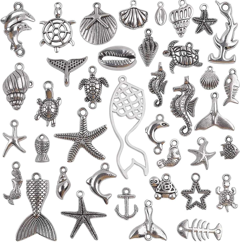 Ocean Sea Charms Collection 40 Antique Mixed Ocea Pieces Silver Albuquerque Mall Ranking TOP6