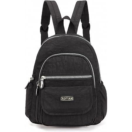 AOTIAN Mini Rucksack Für Mädchen Und Damen Leichtgewicht Kleine Lässiger Daypacks Tasche 7 Liter Schwarz