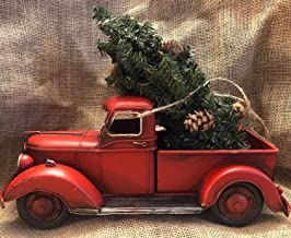 "Lil' RED Pickup Metal Truck Merry Christmas Tree Tabletop Arrangement Retro Farmhouse Chic Rustic Decor Vintage Look Style Toy 13"" x 6"""