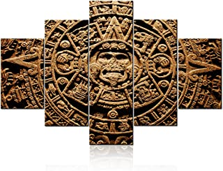 Multi Panel Wall Art Mayan Sun Calendar Pictures Indian Civilization Paintings on Canvas Living Room Home Modern Decor Mexican Vintage Artwork Framed Ready to Hang Poster and Prints(60''W x 40''H)