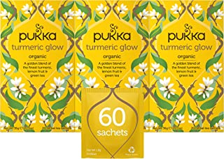 Pukka Herbs Turmeric Glow, Organic Herbal Tea With Lemon & Whole Leaf Green Tea (3 Pack, 60 Tea Bags)