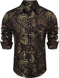 Men's Retro Paisley Shirt Fashion Luxury Floral Print Short Sleeve Casual Button Down Shirt